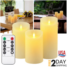 Luminara Flickering LED Candles Moving Flameless Wick Pillar Remote Timer Set 3