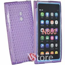 Cover Custodia Per Nokia Lumia 800 Gel Silicone TPU Viola Diamond + Pellicola