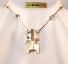 Kunstvolles Lapponia Collier Zombi 925 Silber Modernist Kette 1982  / AN 229