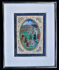 "Indo Persian - hand painted  ""Hunt gathering"" valuable framed - 16,4x13,1  inch"