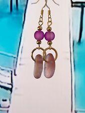 Lilac Purple  sea glass long  earrings