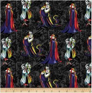 Disney Villains Sketched Black Cotton Quilting Fabric 1/2 YARD