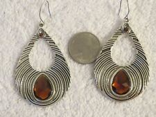 Big Silver Drop Hook Dangle Earrings with Orange Faux Citrine Gemstone