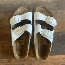 Birkenstock Arizona Natural Leather 2 Strap Sandals, White, Men's 9 Women's 11