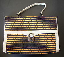 Vintage Artificial Leather & Bamboo Strips Hand Bag Pre-owned