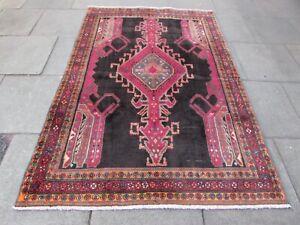 Vintage Hand Made Traditional Rug Oriental Wool Pink Brown Large Rug 231x154cm