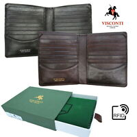 Mens Leather Wallet RFID Cards & Notes Large New in Box Visconti Quality TSC49