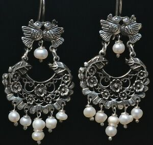 MEXICAN TAXCO 925 STERLING SILVER JEWELRY LOVE BIRDS EARRINGS FRIDA KAHLO STYLE