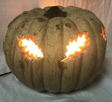 "Primitive By Kathy Thanksgiving~Halloween 9""Resin Crackled Leaf Lighted Pumpkin"