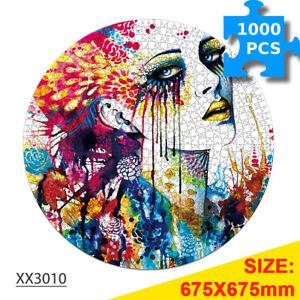 1000PCS Round Jigsaw Puzzle Educational Woman portrait for Adult Kids Home Decor
