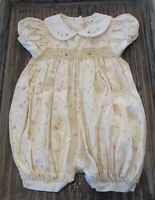 Vintage Girls Floral Smocked Romper Size 9 Months Yellow Class Club Never Worn