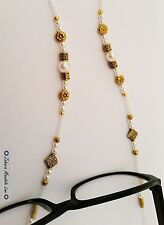 GOLD & Pearls Eye Glasses Holder Necklace Lanyard HANDMADE Fashion Accessory