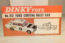 Dinky Toys Poster 212 Ford Cortina Rally Car in excellent+ condition