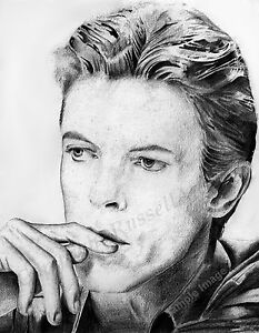 A4 A3 or A2 Size David Bowie Art Print of Original Pencil Drawing by RussellArt