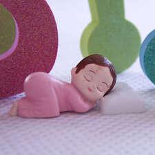 2 Pink Pajama Smiling Baby Girl Sleeping Pillow Baby Shower Bakery Cake Topper