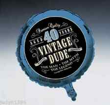 VINTAGE DUDE 40th BIRTHDAY PARTY FOIL BALLOON DECORATION PROP 45CM BLUE 40 YEARS