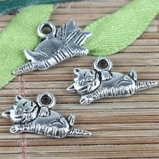20pcs tebetan silver color cute sleeping cat design charms EF0206