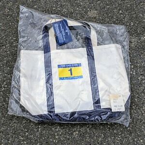 LL Bean Boston One Fund 2013 Limited Edition Boat Tote White Blue Strap USA New