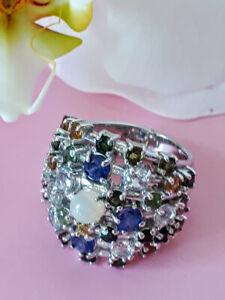 Unheated Fire Opal, Aquamarine, Sapphire, Tourmaline 925 Sterling Silver Ring 8