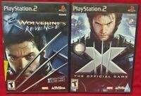 Marvel X 3 + Wolverines Revenge XMEN - X-Men PS2 Playstation 2 Game Lot Tested