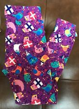 Lularoe Birthday Presents (Tall & Curvy) Leggings Purple NWT