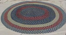 "6'7 x 5'11""  BRAIDED OVAL RUG Wool Mixed Colors blue white red black vintage"