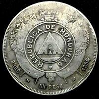 HONDURAS REPUBLIC 1896/1896/ ??? 1 PESO SILVER COIN,  OVER-STRUCK SCARCE KM# 62