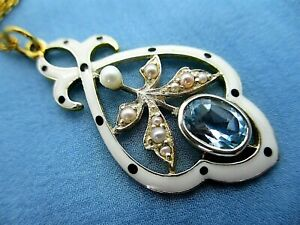 Art Nouveau Style 9ct Yellow Gold Enamel Aquamarine Pearl Pendant Chain  4.09g