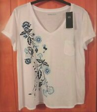 M & S White Mix T-Shirt with Linen BNWT Size 22