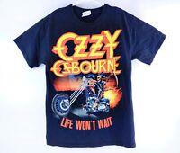 Ozzy Osbourne Men's Life Won't Wait Tour Spell Out Band Tour Shirt Size Medium