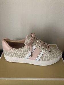 NIB $155 Michael Kors Poppy Powder Blush Logo Stripe Sneakers 8M