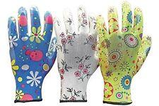 3 X Ladies Designer Floral Gardening General Women Working Gloves Size 7 (SMALL)