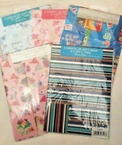 Gift Wrap Pack 2 Sheets Tags Women Men Boys Girls New Baby Cupcakes Flamingo