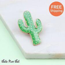 Cactus Enamel Pin Retro Gift Birthday Lapel Badge Gold Fun Love Plant Home Cute