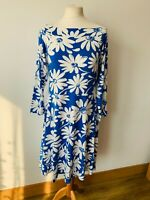 Tu Off the shoulder Jersey Dress Size 16 Blue with White Floral 3/4 sleeves