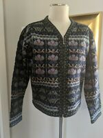 Vintage Squaw Valley Nordic Folk Fair Isle Zip Front Wool Cardigan Sweater Sz L