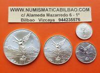 @RARE@ MEXICO 1/2 1/4 1/10 1/20 ONZA 2007 LIBERTAD UNC SILVER 4 COINS Oz Mejico