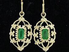 E069-Genuine 9ct Solid Gold NATURAL Emerald Drop Earrings Filigree ornate Drops
