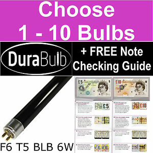 DuraBulb® F6 T5 BLB 6W Ultraviolet Money Checker Bulbs UV Blacklight Light Tubes
