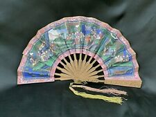 ANTIQUE QING CANTON CHINESE FAN HAND CARVED WOOD SILK TASSEL KNOT EVENTAIL RARE