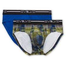 2 Pack Medium M / Evolve 2XIst No Show Briefs Cobalt Multi Yellow Blue Gray