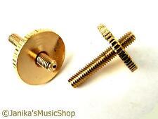 2 gold height adjusting thumb wheels posts guitar bridge screws tune o matic