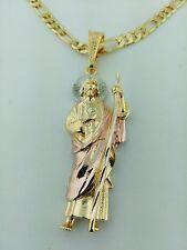 Saint Jude  Pendant  3 Tone with  figaro Necklace. San Judas Tadeo  en relieve