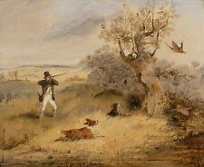 "1825- Henry T Alken, Bird Pheasant Hunting, dog, antique, Rifle Gun, 20""x16"" Art"