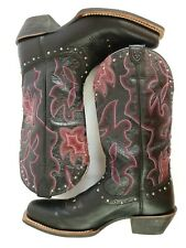 Ariat Runaway Womens 9.5 Leather Western Cowboy Rodeo Boots Black Purple