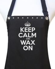 "Esthetician Apron ""KEEP CALM AND WAX ON"" black salon waterproof new"