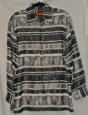 Inserch Shirt Poly/Rayon Gray Silky-Paisley/Chenille Textured/Puckered-M