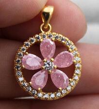 18K Yellow Gold Filled - Hollow Flower Pink Ice Quartz Topaz Zircon Gems Pendant