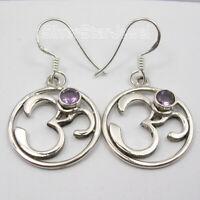 """PURPLE AMETHYST Gemstone 925 Solid Silver OHM OM Drop Dangle Earrings 1.5"""" NEW"""