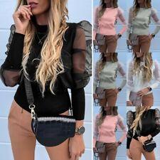 Women Ladies Puff Mesh Sleeve Tops Pullover Sweater Blouse Jumper Tops Shirt UK